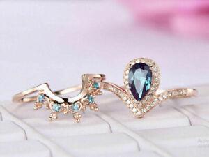 2Ct Pear Cut London Blue Topaz Bridal Set Engagement Ring 14K Rose Gold Finish