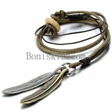 Leather Men's Women's Metal Feather Pendant Surfer Necklace Choker Adjustable