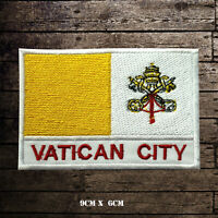 VATICAN CITY Flag With Name Embroidered Iron On Sew On Patch Badge