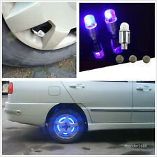 4Pcs Blue ED Car SUV Wheel Tyre Tire Air Valve Stem Caps Decoration Light Lamp