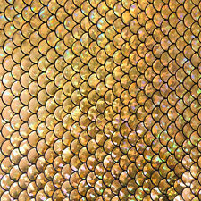 Mermaid Foil Fish Scale 4 Way Stretch Spandex [Gold] Sold By The Yard