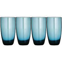 Set Of 4 Blue Lustre Hi Ball Glasses 600ml Tall Highball Drinking Tumblers Cups