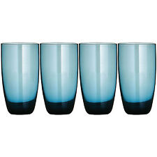 Set Of 4 Blue Lustre Hi Ball Glasses 600ml Tall Highball Drinking Tumblers Cups