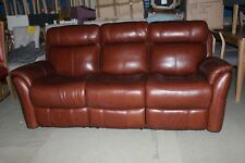 RELAX STATION REVIVE, BROWN LEATHER, MANUAL RECLINING 3 SOFA