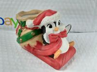 Vintage 1989 House of Lloyd Penguin & Sleigh Christmas Porcelain Decor