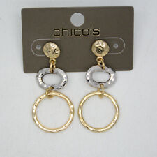 Chico's jewelry two tone gold silver tone circle round earrings hoop drop dangle