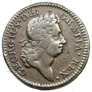 1723 4.85-Gc.22 R-3 Wood's Hibernia Half Penny Colonial Copper Coin