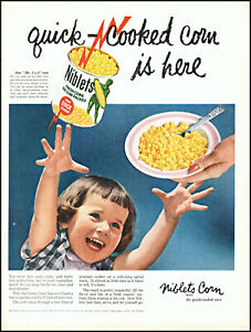 1959 Cute little girl smile Green Giant Niblets Corn vintage photo print ad L56