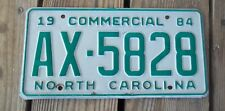 1984 North Carolina Commercial License Plate AX-5828 Green on White Metal