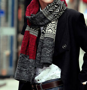 Long Winter Scarf for Man Super Soft  Faux Cashmere Acrylic Men Red/Black/Brown