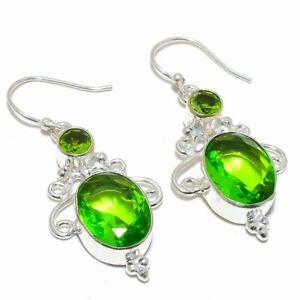 """Burmese Peridot Gemstone 925 Sterling Silver Jewelry Earring Jewelry 2.0""""F188"""