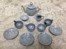 Antique, 12-pc  Gray Spotted Graniteware Enamelware Child's Tea Set