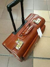 Leather pilot case on wheels Hi Grain Italian Leather cognac or black
