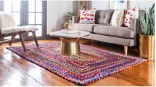 Cotton Briaded Area Rug Handmade 2x3 Foot Rectangle Floor Decor Art Rug