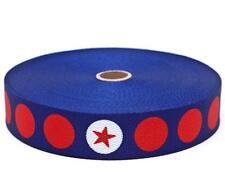 Gurtband in dunkelblau mit roten und weißen Punkten und roten Sternen   30 mm