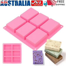 6 Cavity Silicone Rectangle Homemade Soap Mould DIY Tray Ice Cube Making Mold AU