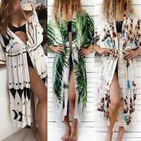 Summer Womens Boho Bikini Cover Up Kimono Cardigan Beach Long Loose Blouse Tops