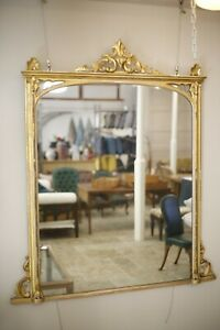 Large Gothic influence Victorian Gilt overmantel mirror