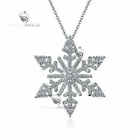 18k white gold gp made with SWAROVSKI crystal snowflake pendant necklace