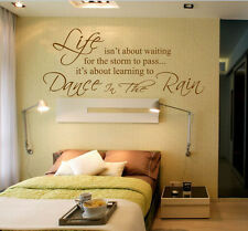 Hand Carving Life Dance in the Rain Art Words Wall Stickers UK RUI233