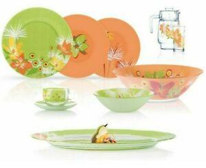46-pc LUMINARC POP FLOWER MIX Tableware Set, Green and Orange, Tempered Glass