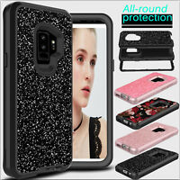 For Samsung Galaxy S10 Plus/Note 9/S9 Hybrid Bling Glitter Shockproof Case Cover