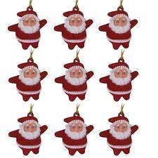 Navidad - Decoración Árbol - Colgante Mini Papá Noel - Paquete De 9