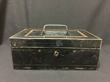 "Antique Black and Gold Toleware 10"" Metal Document Cash Box Early 1900's"