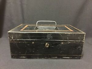 """Antique Black and Gold Toleware 10"""" Metal Document Cash Box Early 1900's"""
