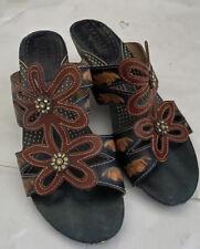 Spring Step Carlina Women's 9 Blue Tan Leather Floral Slide Heels Sandals 40