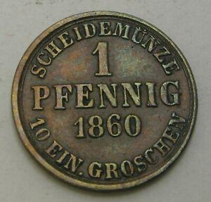 BRUNSWICK WOLFENBUTTEL 1 Pfennig 1860 - Copper - Wilhelm - VF - 2034