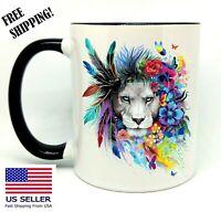 Spirit Animal, Lion, Birthday, Christmas Gift, Black Mug 11 oz, Coffee/Tea