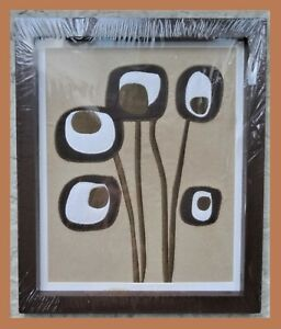CoCaLo Brown Framed Wall Art Nursery Decor Embroidered Floral Design 12x10 NEW