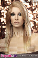 Sleek Straight Heat Friendly Wig MONO PART Strawberry Blonde Tip