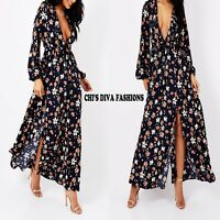 EXQUISITE MISSTRUTH 70's Floral Ruffle Maxi Dress With Splits Sizes UK 8-16