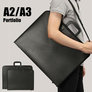 A2 A3 DESIGN PORTFOLIO WATER PROOF BLACK CASE ART WORK PAINTING FOLDER BAG UK