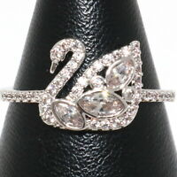 Sparkling Cubic Zirconia Swan Ring Women Birthday Jewelry Gift 14K Gold Plated