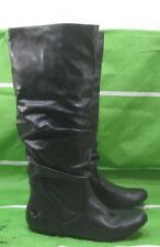 new ladies Womens Black Flat Slouch Knee Sexy Boots Size 9