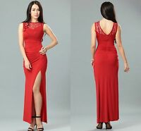 Women Ladies Ball Prom Party Formal Red Side Lace Runched Long Maxi Dress 8 10