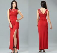 Ladies Women Ball Prom Party Celeb Red Side Lace Runched Long Maxi Dress 8 10