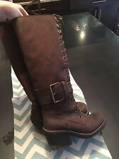 Jeffrey Campbell LITA leather wood heel brown  boot lace up US 5 SEXY Tall Knee