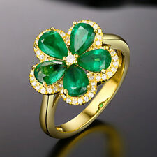 Gorgeous 1.72Ct Natural Emerald Diamond Engagement Ring Solid 14K Yellow Gold