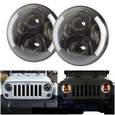 "7"" Halo Angel Eye LED Projector Headlight BLACK for 97-17 Jeep Wrangler JK TJ CJ"