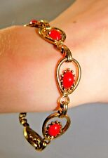 """Vintage Red Thermoset Scarab Drop Style Link Gold Tone 7 1/2"""" Bracelet 1f 74"""