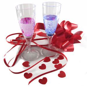 10 LED Light up Champagne Flutes Pink / Blue