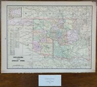 """Vintage 1900 OKLAHOMA INDIAN TERRITORY Map 14""""x11"""" ~ Old Antique CHEYENNE NATION"""