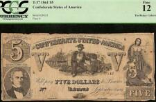 1861 $5 DOLLAR BILL CONFEDERATE STATES CURRENCY CIVIL WAR NOTE BETTER T37 PCGS