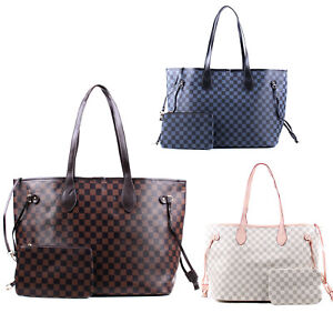 Womens Top Handle Bags Extra Large Checked Design Tote Bag With Removable Pouch