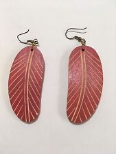 "Feather Wood Earrings Orange Carved Women's Fashion 2.5""x 1.25"""