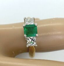 Fine AAA+ Colombian Emerald & Diamonds Platinum-18K Three Stone Ring